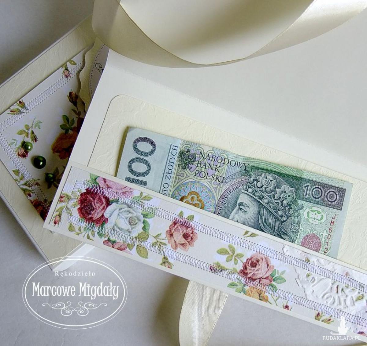 Różany komplet ślubny personalizowany, kartka w pudełku i tuba na wino