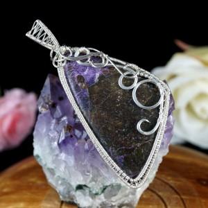 Purpuryt, Srebrny wisior z kaboszonem purpurytu, prezent dla niej, prezent dla kobiety, prezent dla mamy, ręcznie robiona biżuteria