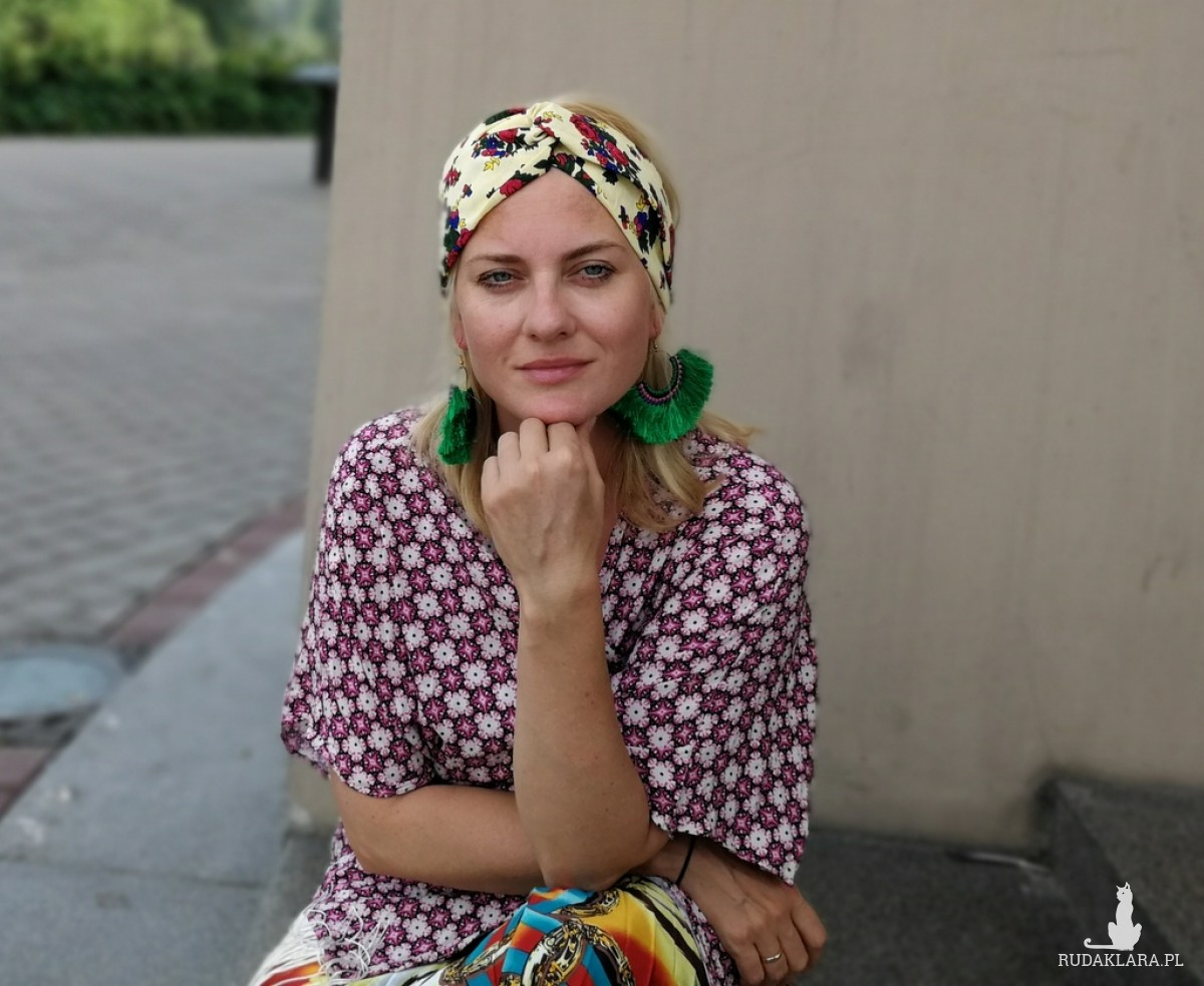 opaska damska turbanowa folkowa w kwiaty