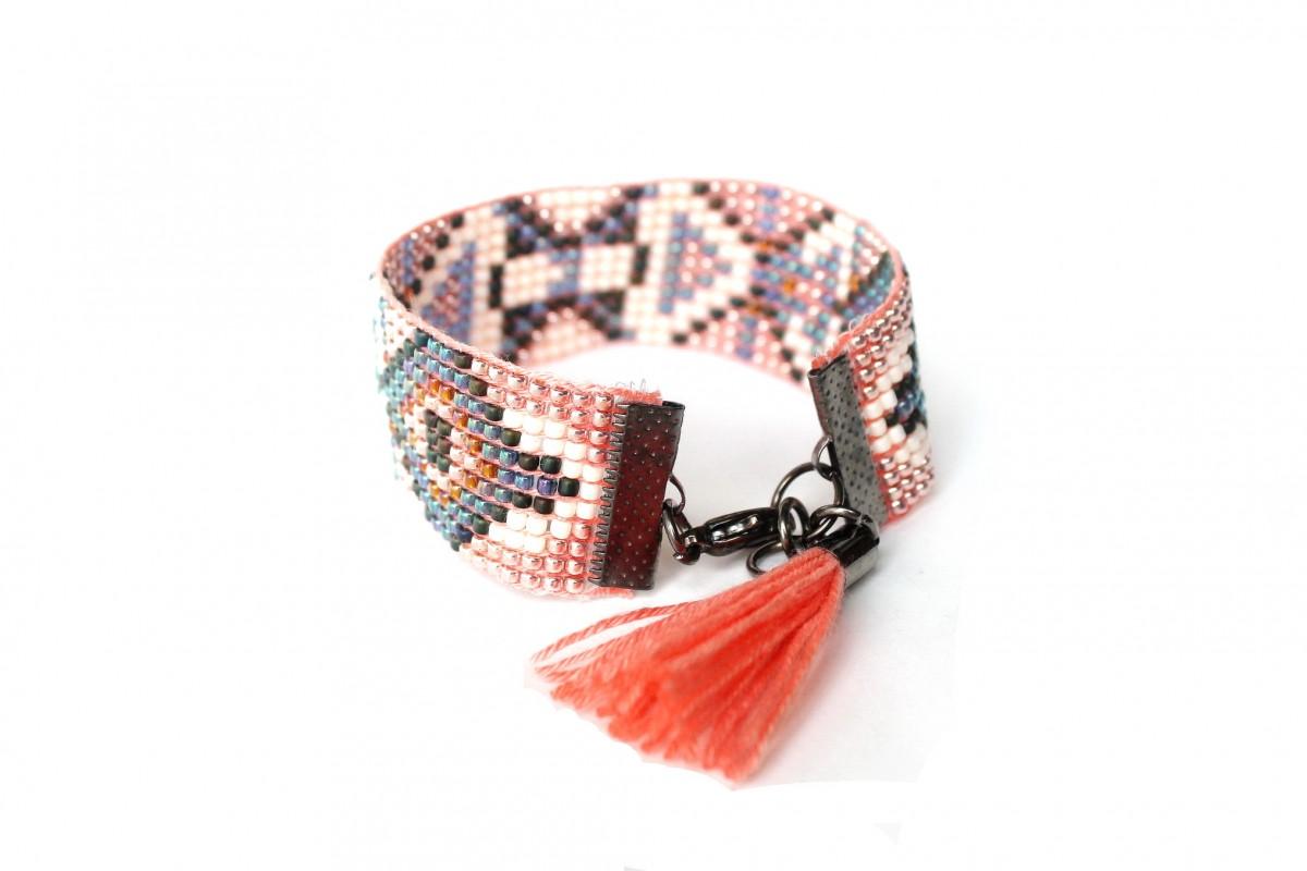 Bransoletka etniczna ,,Pink Indian Summer ,,