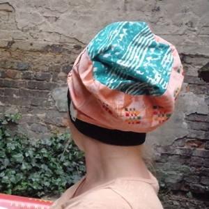 czapka damska pomarańczowa etno