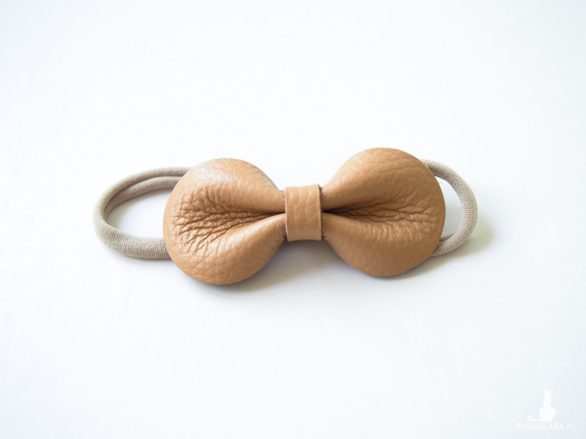 LEATHER BOW BABY Opaska do włosów CHAMPAGNE