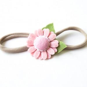 Opaska do włosów z kwiatuszkiem różowym