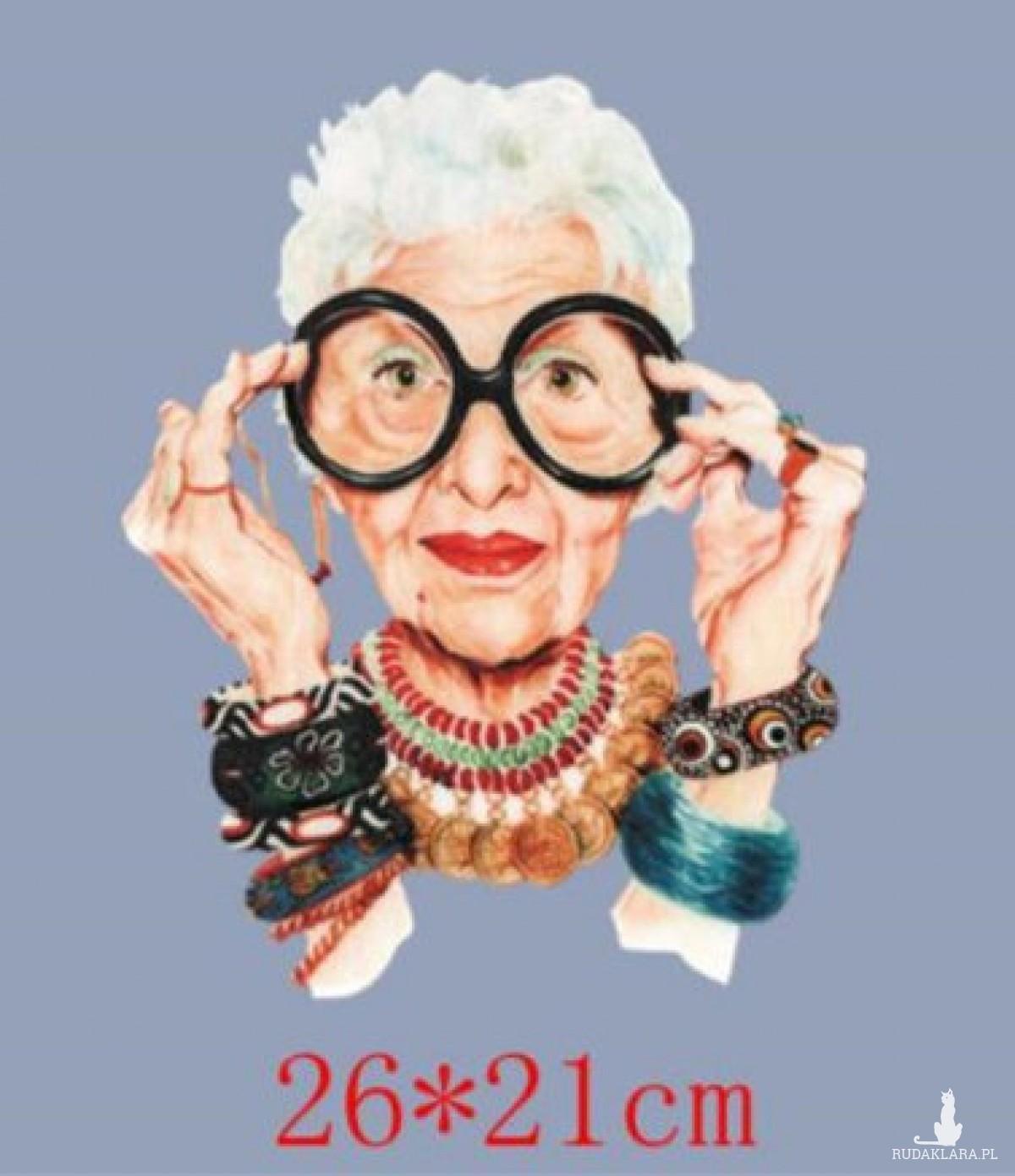 Naklejka naprasowanka na bluzkę, kurtke, torbę hipsterska babcia