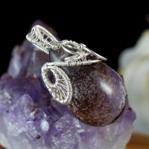 Kwarc, Srebrny wisior z kwarcem phantom, prezent dla żony, prezent dla kobiety, ręcznie robiona biżuteria, wisior wire wrapped