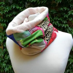 komplet damski kolorowy zimowy komin i czapka