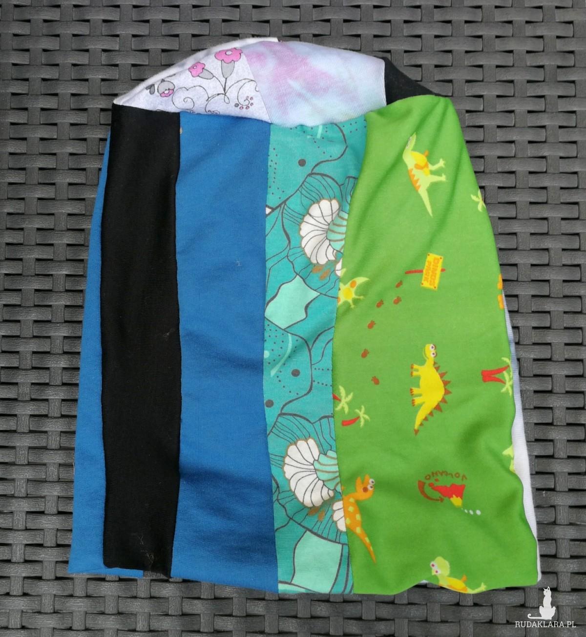 czapka damska ciepła patchwork boho handmade