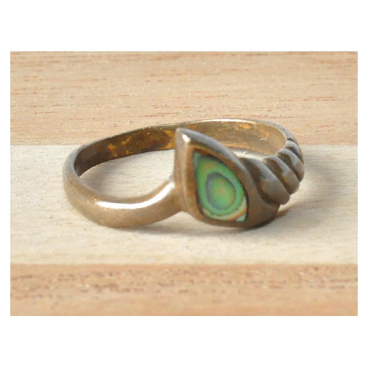 78 stary pierścionek z mosiądzu; pierścionek vintage; pierścionek z masą perłową; mały rozmiar