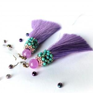 Kolczyki fioletowe z chwostami i koralikami