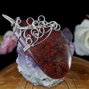 Jaspis brekcjowy, Srebrny wisior z jaspisem brekcjowym, ręcznie wykonany, prezent dla niej, prezent dla mamy, prezent urodzinowy, biżuteria