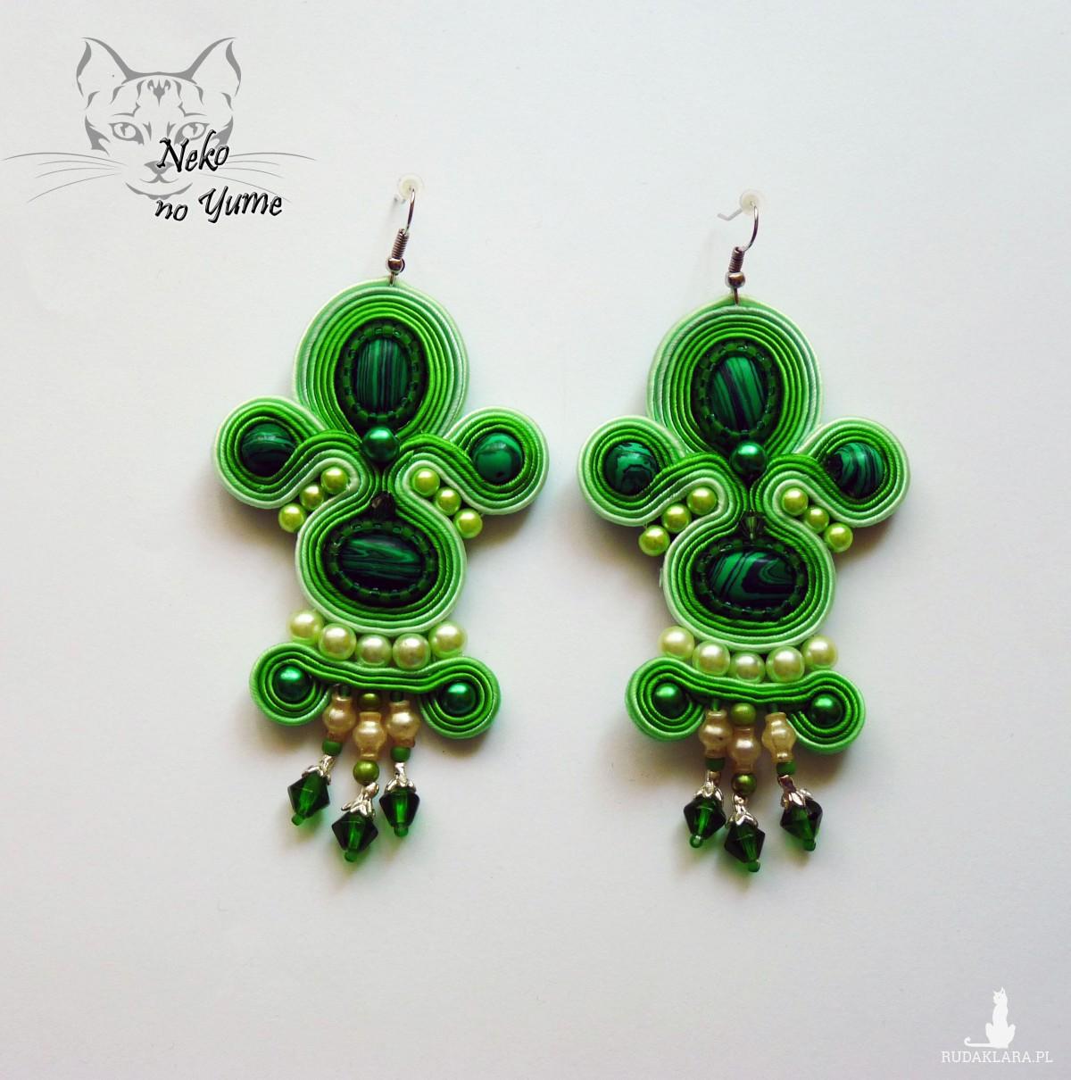 Baroque - zielone kolczyki sutasz z malachitem
