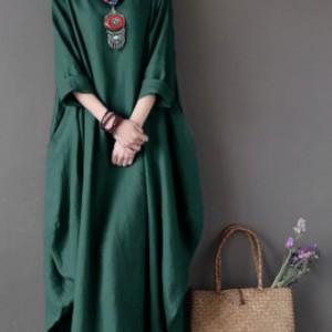 zielona sukienka oversize bawełna M