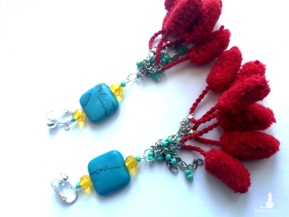 klipsy wiszace etno boho handmade