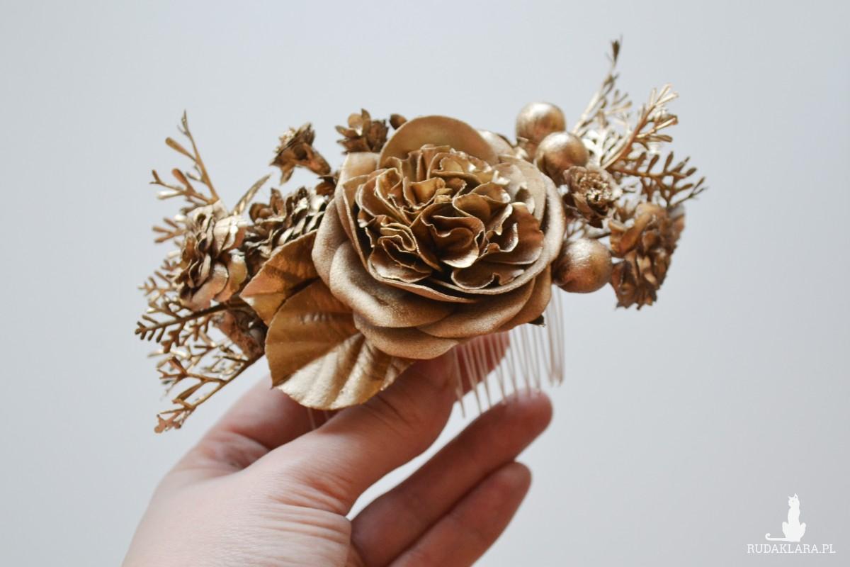 """grzebyk """"Złote kwiaty"""""""