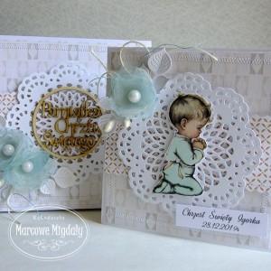 Personalizowany komplet, kartka w pudełku na chrzest dla chłopczyka