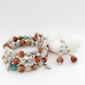 Komplet biżuterii; bransoletka i kolczyki z amazonitu