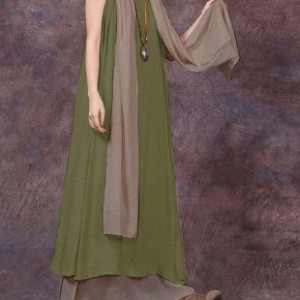 sukienka oversize duża zielono- bezowa z szalem XXl