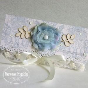 Ślubna kopertówka pastelowy błękit