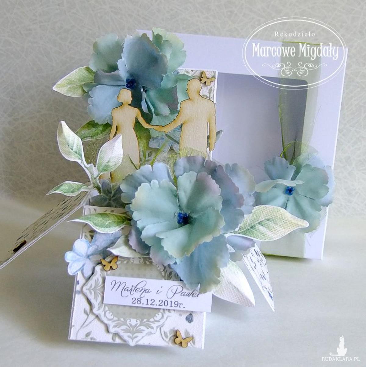 Personalizowana pamiątka ślubu W Niebieskim Ogrodzie, kartka w pudełku