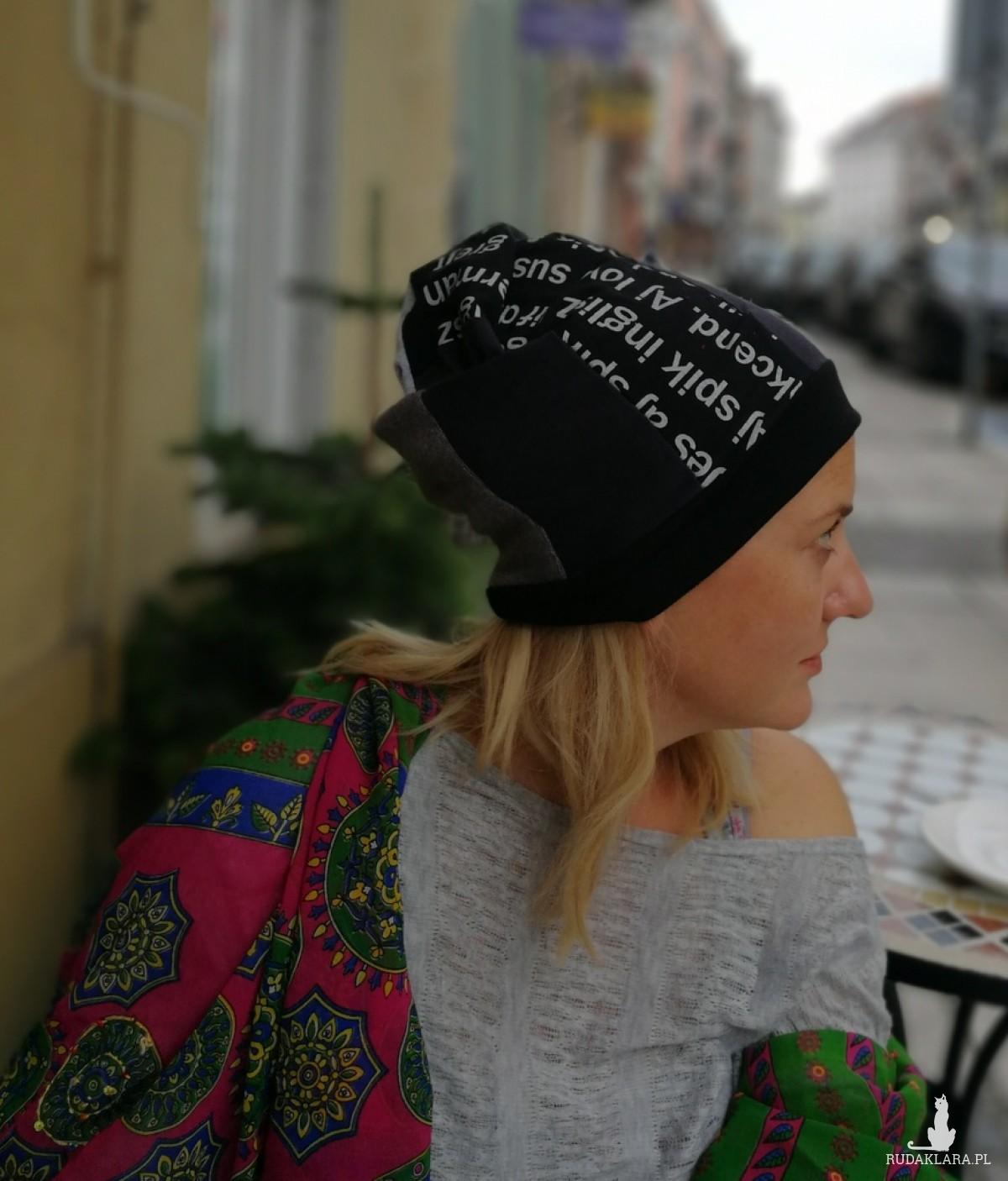czapka szyta patchworkowo damska boho folk etno
