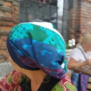 czapka patchworkowa bardzo długa letnia- box p1-nie wspominaj ważce ze się marzy traszce