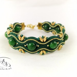 Bransoletka sutasz zielona złota Green&Gold z jadeitem