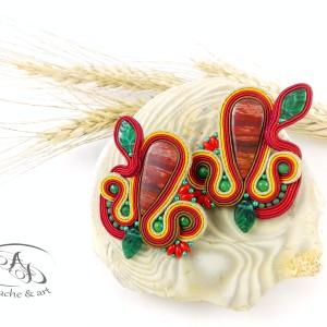 Kolczyki sutasz z jaspisem snake kolorowe Roots Vibes