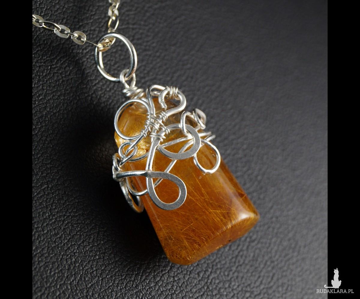 Kwarc, Srebrny wisior z kwarcem z rutylem żółty, prezent dla niej, prezent dla mamy, prezent dla kobiety, ręcznie robiona biżuteria