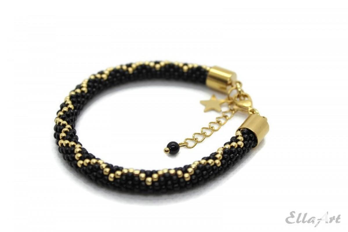 delikatna bransoletka z koralików Toho11 czarno-złota