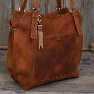 Ręcznie robiona skórzana torebka rudy brąz, brązowa skórzana torebka,