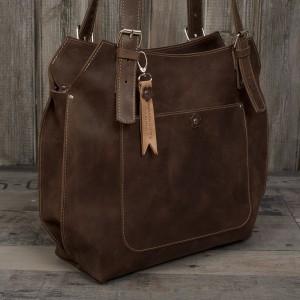 Ręcznie robiona skórzana torebka brązowa, skórzane torby.