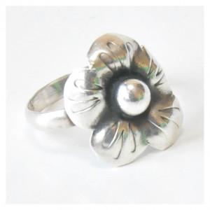 83 pierścionek vintage, srebrny, oryginalny pierścionek, kwiatek: na prezent, na co dzień;