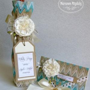 Eco komplet ślubny personalizowany, kopertówka i torebka na szampana