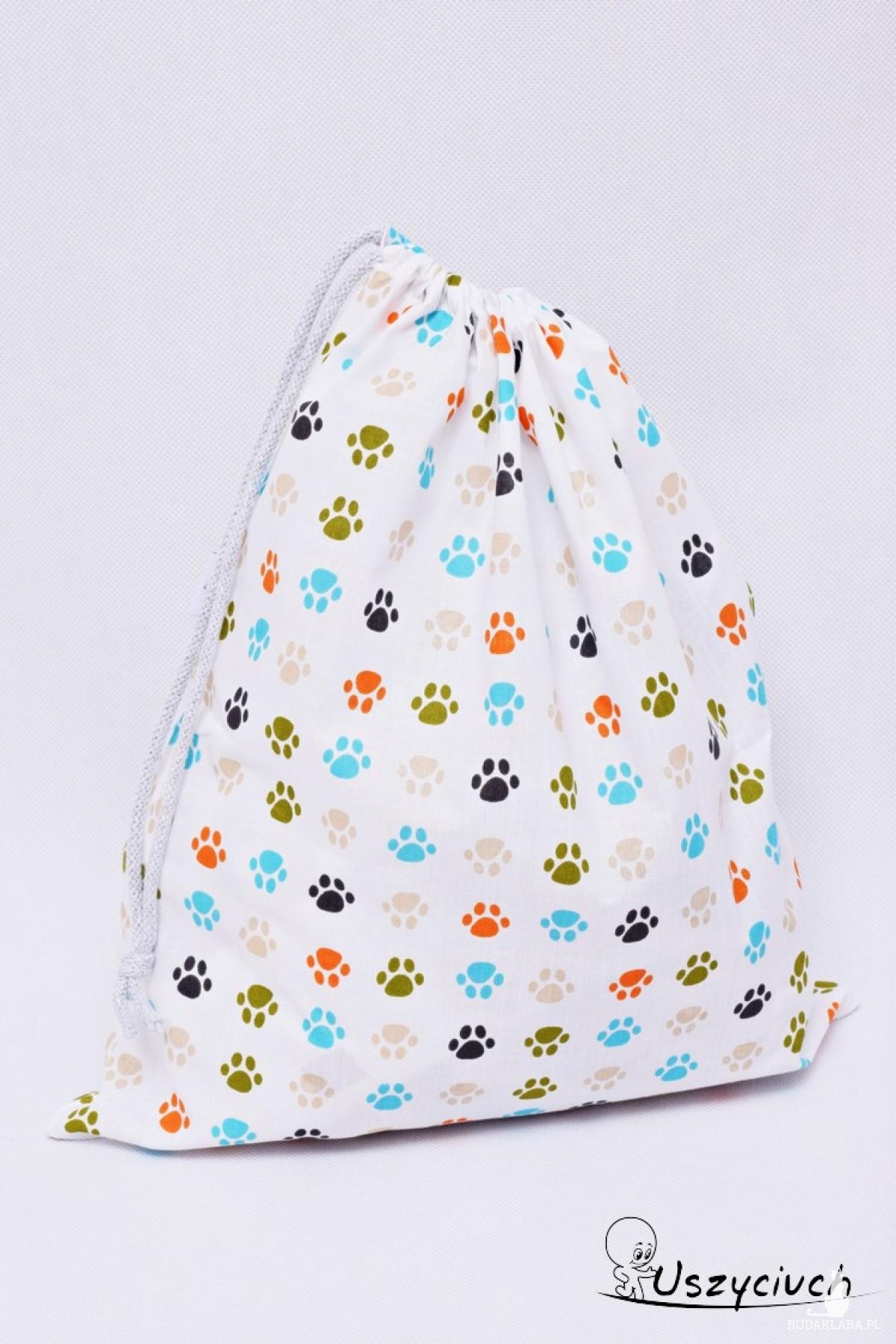 Worek na buty worek na kapcie do przedszkola do szkoły worek szkolny na ubrania psie łapki