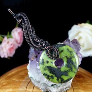 Piryt z jaspisem, Miedziany wisior ze skamieliną, ręcznie wykonany, prezent dla niej prezent dla mamy prezent urodzinowy biżuteria autorska