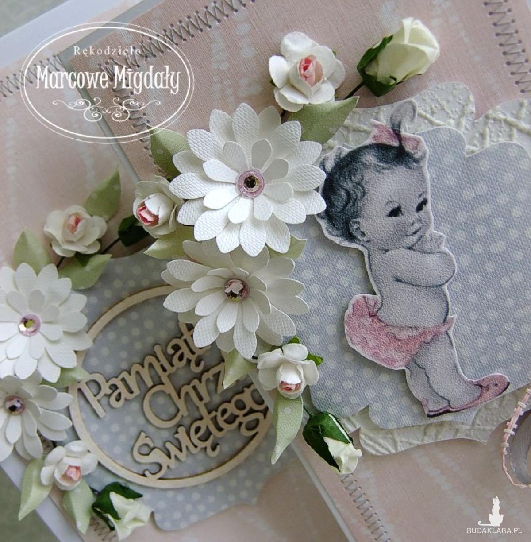 Personalizowany komplet, kartka w pudełku na chrzest dla dziewczynki