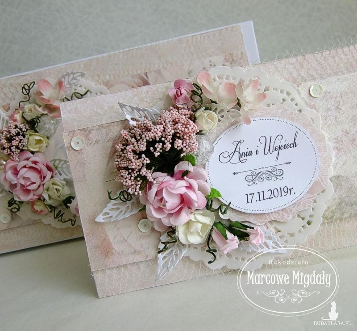 Różowy komplet ślubny, kartka w pudełku