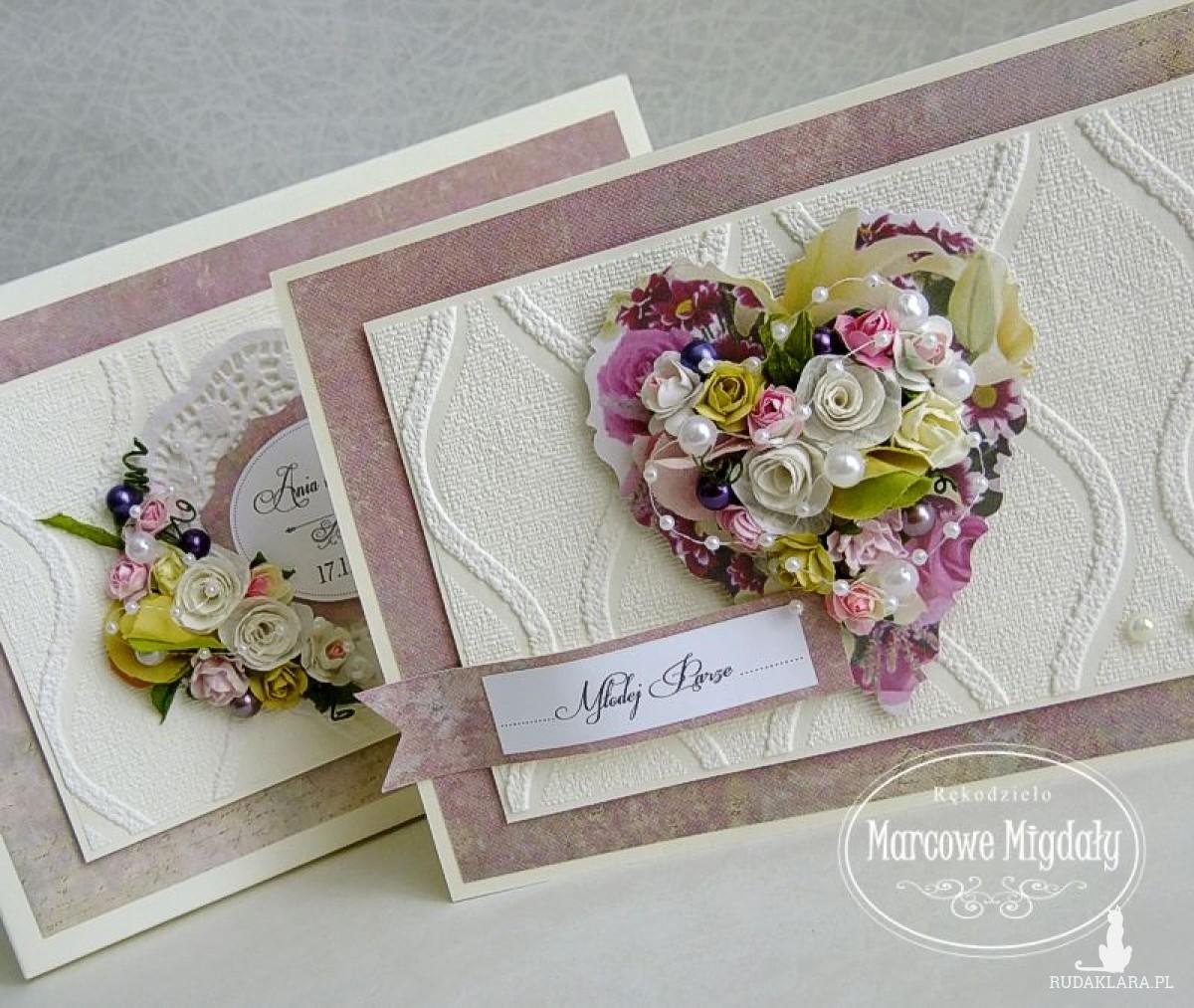 Romantyczne Serce, duża kartka ślubna z pudełkiem