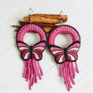 Kolczyki motyle z linii Round Butterfly różowe