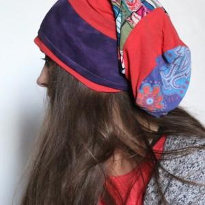 czapka damska patchworkowa długa smerfetka