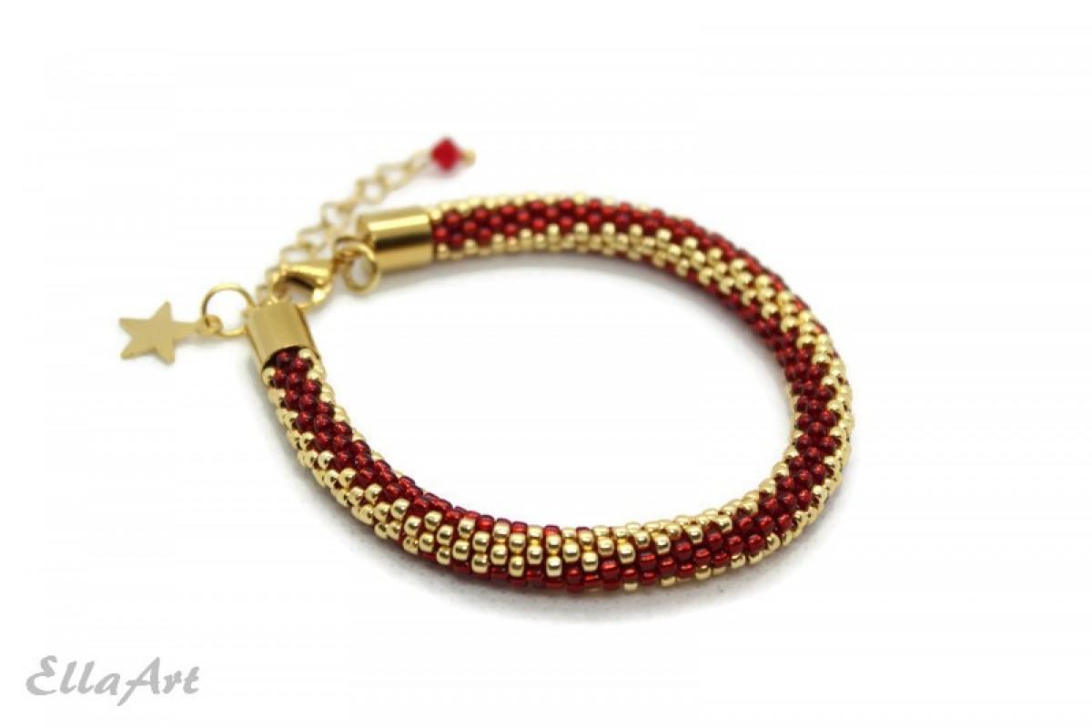 delikatna bransoletka z koralików czerwono-złota