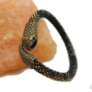 bransoletka z koralików Snake - żmijka, antyczny brąz