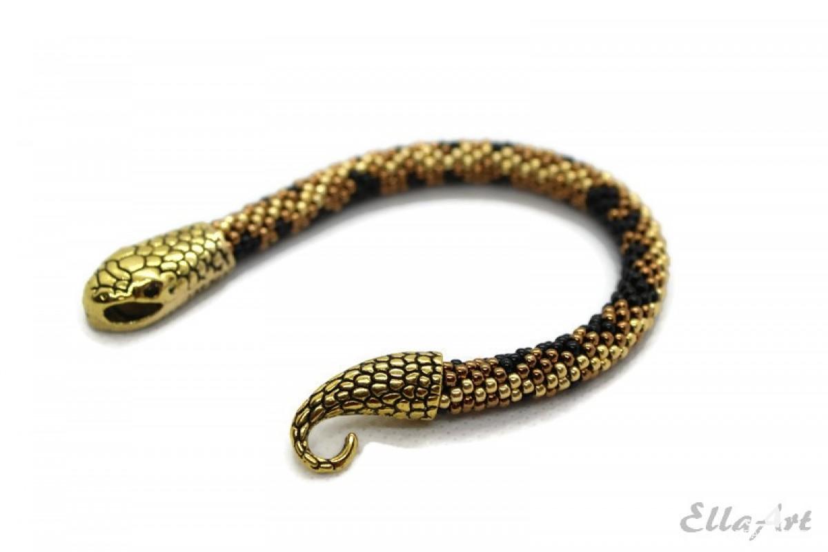 bransoletka z koralików Snake - żmijka, złoto, antyczne złoto