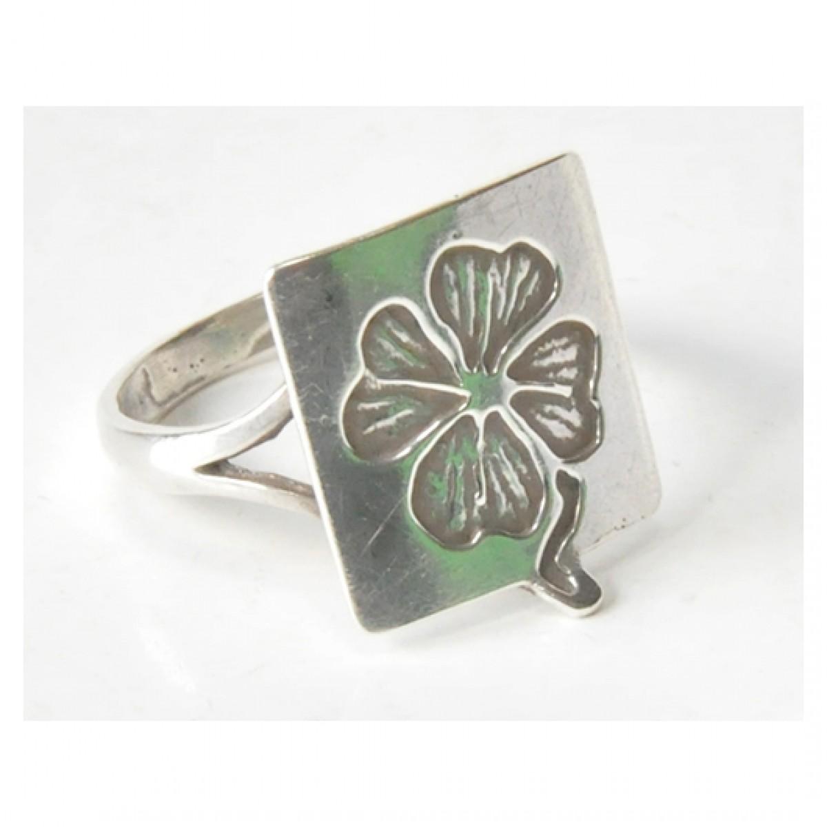 85 pierścionek vintage, srebrny, oryginalny pierścionek, koniczynka na szczęście; na prezent, na co dzień;