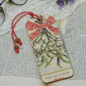 Zakładka drewniana - jemioła i kokarda w czerwoną kratę, drobny prezent świąteczny
