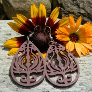 Kolczyki brązowe, łezki, biżuteria góralska parzenice, kolczyki folk