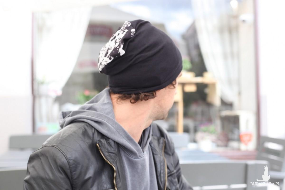 czapka czarna damska męska w paski