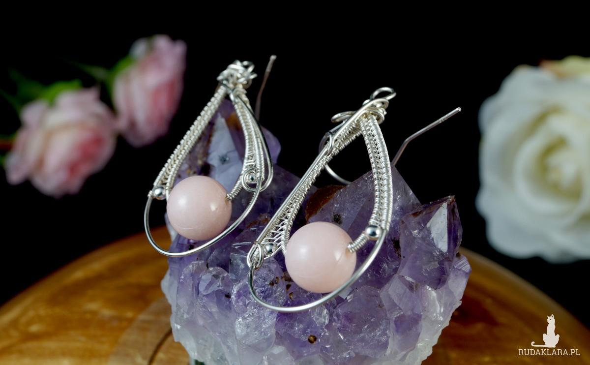Agat różowy, Srebrne kolczyki z Agatem, ręcznie wykonane, prezent dla niej, prezent dla mamy, prezent urodzinowy, biżuteria, wire wrapped