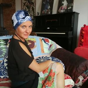 czapka turbanowa etno boho patchwork- box 44-w kraju nad Wisłą brzoza jest fe a z tęczy zdrapali wszystko