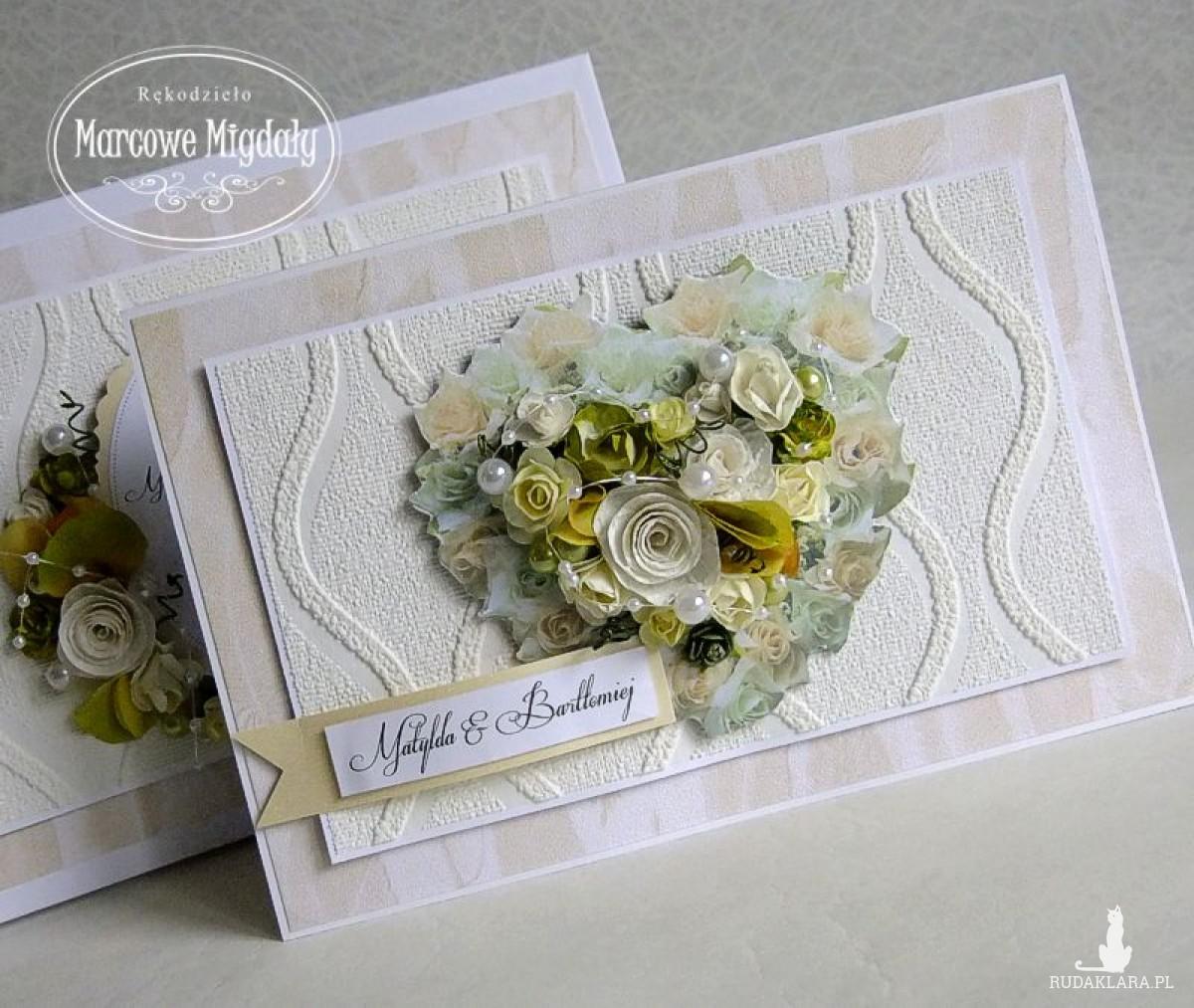 Romantyczne Serce, duża kartka ślubna i pudełko z cytatem